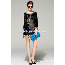 Hot Sale!!! Velvet Dress coat with embroidered Peacock Black Sweater for Lady