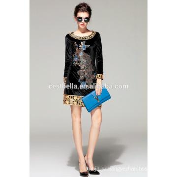 Горячая Продажа!!! Бархатное платье пальто с вышитыми Павлин черный свитер для Леди