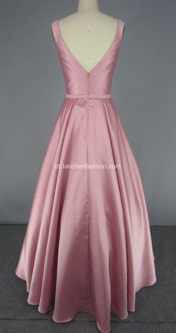 Pink V Back Ball Gown Prom Dress