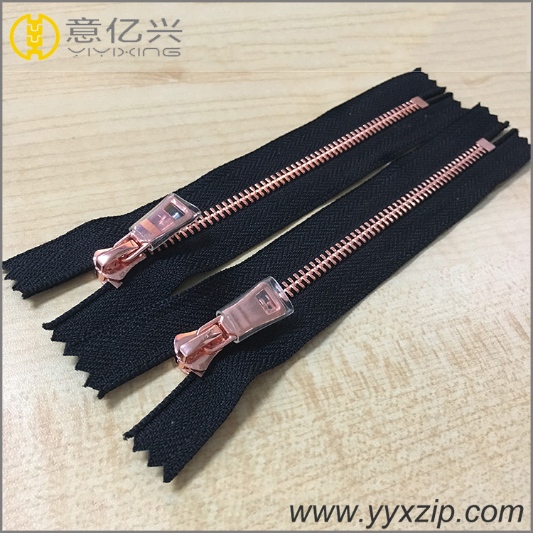 fashion rose gold zipper