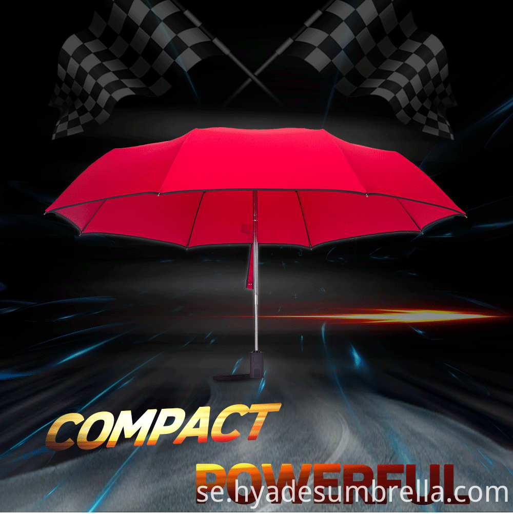 3 Folding Umbrella Compact Red