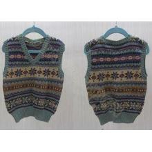 Fashion V Neck Kids Holiday Sweaters Jacquard Vest for Boys