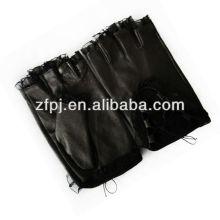 Lace design summer black leather fingerless gloves women