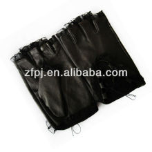 Lace design verão preto couro fingerless luvas mulheres