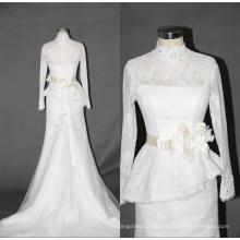 Vestido de casamento de sereia de renda manga longa de colarinho alto F5068
