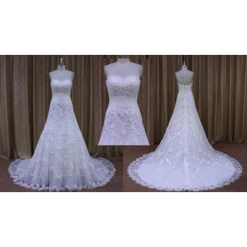 Appliqued Lace A Line Wedding Dress Bridal Gown