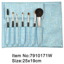 7pcs black handle animal/nylon hair fashion makeup brush kit with printed blue satin case