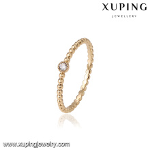 14630 Fine jewelry 18k gold single stone finger rings, simple gold ring with zircon designs for girls