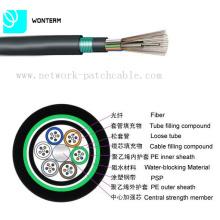 Al aire libre 2 ~ 288 Núcleo GYTY53 Tubo suelto Cable de fibra óptica trenzado