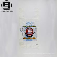 Recycler les sacs d'emballage de t-shirt imprimés par film blanc