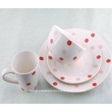4PCS Lovely Dotted Ceramic Dinnerware Set