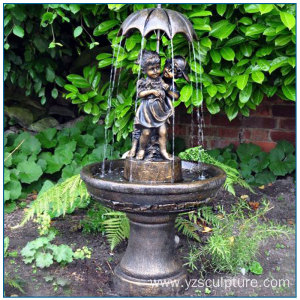 Life Size Lovely Bronze Children Fountain