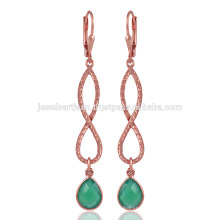 Gorgeouse Rose Gold überzogen und grüne Onyx Silber Ohrringe