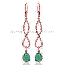 Gorgeouse Boucles d'oreilles en argent plaqué or et vert Onyx