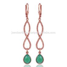 Gorgeouse Роуз Позолоченные Зеленый Оникс Серебро Серьги