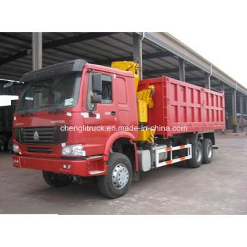Caminhão basculante Sinotruk HOWO 6X4 com Grua XCMG 10t