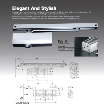 CE certificate heavy duty door closer with spray surface, RDC-06A