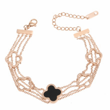 Multi-layer rose gold four-leaf clover bracelets for women titanium steel plated 18K rose gold personalized fashion jewelry