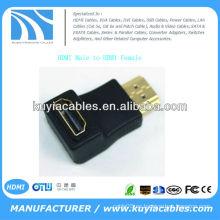 HDMI hembra a macho F / M Conector del cambiador del adaptador del acoplador del ángulo de 90 grados