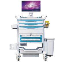 Trole móvel do computador do hospital com gaveta da medicamentação
