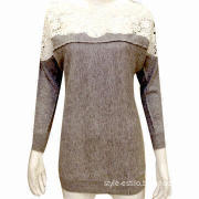 Ladies' Breathable Pullover Sweater with Flower Lace Pattern