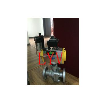 Robinet à tournant sphérique pneumatique en acier moulé à bride 2 PCS