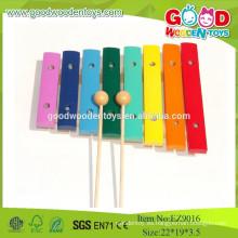 2015 mini colorido 8 notas musicales xilófono de madera, juguetes musicales instrumento