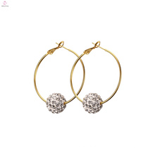 Pendientes del acero inoxidable de la gota de la perla de la moda de las mujeres, pendiente del aro del acero inoxidable del cristal de la joyería de la borla