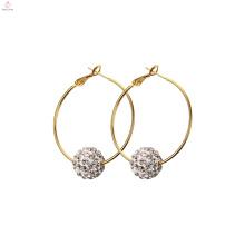 Boucles d'oreilles en acier inoxydable de goutte de perle de mode de femmes, bijoux de gland Boucle d'oreille de cerceau en acier inoxydable de cristal