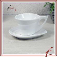 Venta al por mayor taza de café y platillo de café de cerámica blanca de porcelana