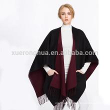 châle de cape de laine de couleur réversible de double face pour des dames