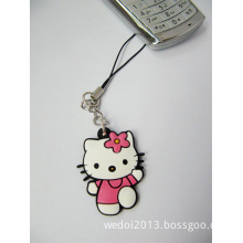 Very Cute Pink Cat Keychain for Mobile Phone (WY-K06)