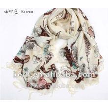 2012 lenços dos shawls das lãs da impressão da forma, estoque 5 cores Preço por atacado, lãs de 100%