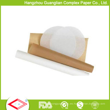 Papel de pergamino de la hornada del horno de silicona blanco y marrón 38GSM