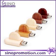 Clé USB en bois en vrac arrondie en bambou