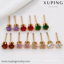 91282 Xuping hot sale 18k jewelry stud earring with one big zircon