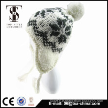 100% acrylic jacquard knitted beanie hat in winter