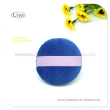 Blue Velet Makeup Powder Puff With Satin Ribbon