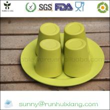 Набор для чашек из экологически чистого бамбукового волокна для чая
