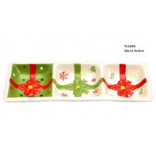 Cerâmica 3 Divide Candy Dish para o Natal