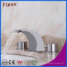 Misturador sanitário da bacia do bico da cachoeira do banheiro do punho do dobro dos mercadorias sanitários de Fyeer