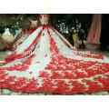 2018 últimos vestidos de boda diseños Puffy vestidos de novia rojo vestido de novia de lujo
