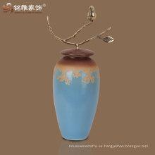 2016 fabricante florero de la porcelana del color del nuevo diseño azul vendedor caliente para la decoración casera del hotel