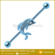 Blue Anodized Surgical Steel Crystal Paved Dolphin Industrial Barbell