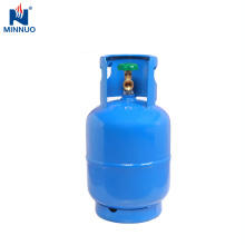 Cilindro de gás de Dominica, tanque de 5 kg de propano azul com queimador