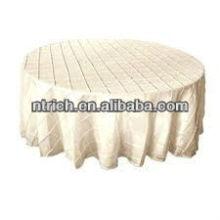 tafetá de pano de mesa-redonda, tampa de tabela pintuck marfim de casamento encantador pintuck