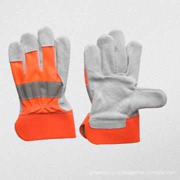 Корова сплит кожаные перчатки из хлопчатобумажной ткани (3031)