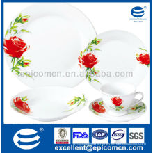 2014 30pcs red floral design porcelain dinnerware plate microwave utensils
