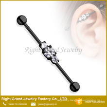316L Surgical Steel Black IP Three Clear CZ Plated Ear Industrial Barbell