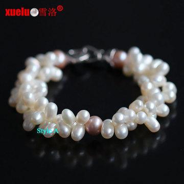 Двойные пряди 100% натуральные пресноводные жемчужные браслеты (E150045)